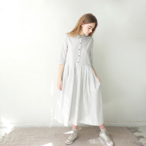 (SS20) A.B Apuntob Pleat Dress Butter with Blue Stripe