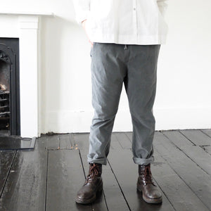 (AW20) Album Di Famiglia  Velvet Basic Trousers in slate grey