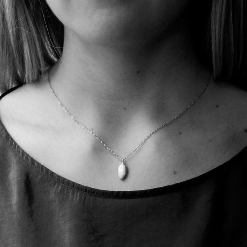 Kerry Seaton Silver Pumpkin seed on 18ct gold chain