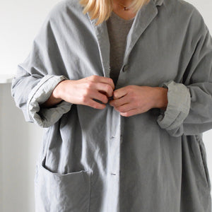 (AW20) Album Di Famiglia Velvet  Loose coat in Dove Grey