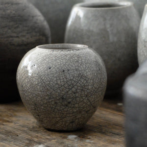 Jennifer Morris White Crackle Raku Vessel 76