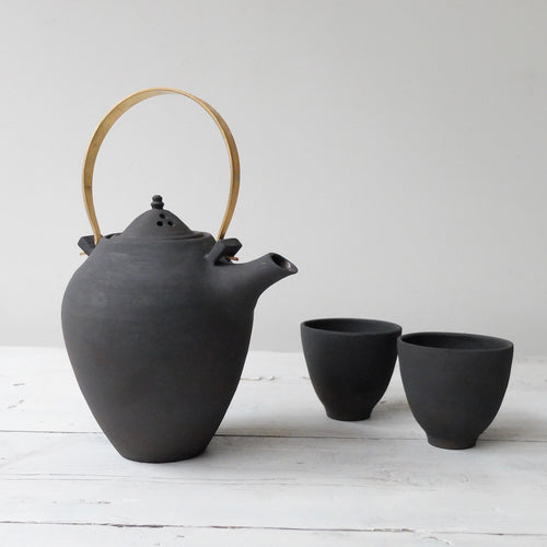 Kin Leung Matt Black Stoneware Tea Set