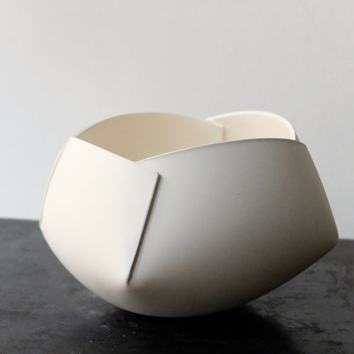 Ann Van Hoey White Folded Bowl 39
