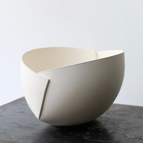 Ann Van Hoey White Folded Bowl 38