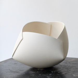 Ann Van Hoey White Folded Bowl 36