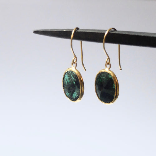 Ram Rijal Emerald and 22 ct Gold Earrings