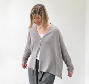 (SS21) Album Di Famiglia Oversized Knitted Cardigan Grey