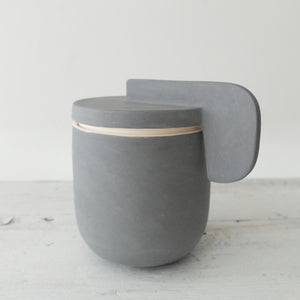 (PE) Derek Wilson small charcoal porcelain Container