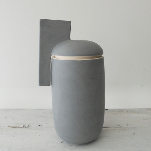 (PE) Derek Wilson large tall blue porcelain Container