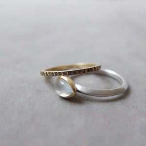 Kerry Seaton Silver, 18ct Yellow Gold and White Moonstone Ring