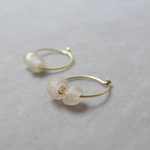 Kerry Seaton 18ct Yellow Gold Antique Glass Hoops