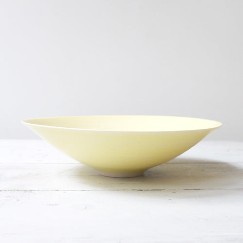 Peter Wills Shallow Yellow Porcelain Bowl with Bronze Band