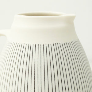 Nicola Tassie small Polished porcelain fat jug with black inlay lines