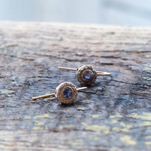 Rosa Maria Iolite earrings in rose gold set with rose cut diamonds
