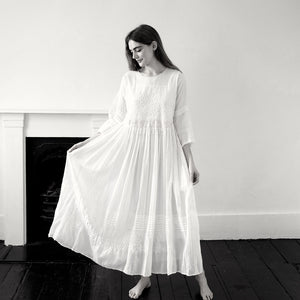 (SS20) Injiri hand woven and embroidered muslin dress 18