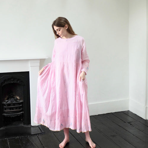 (SS20) Injiri embroidered pink Cotton Dress