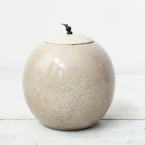 Kate Schuricht Lunar Large Raku Sphere Pot (J1)