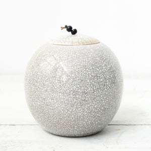 Kate Schuricht Lunar Large Raku Sphere Pot (K1)