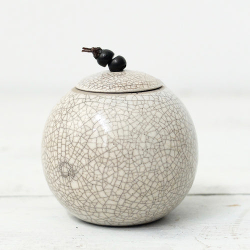 Kate Schuricht Lunar Small Raku Sphere Pot (J2)