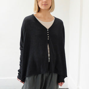 (SS21) Album Di Famiglia Oversized Knitted Cardigan Charcoal