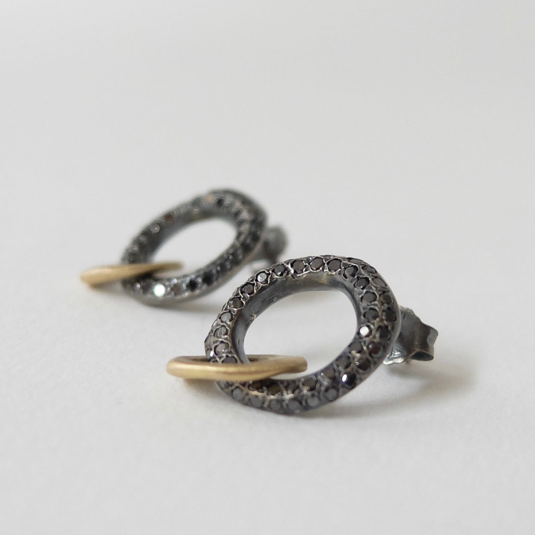 Rosa Maria striking black diamond and gold hoop earrings