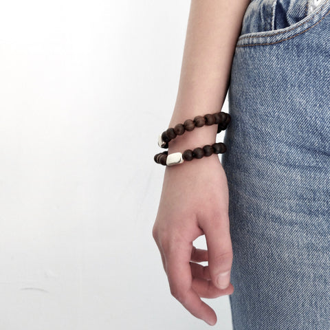 Rosa Maria dark wood and silver bracelet