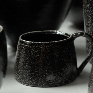 Jack Doherty Soda Fired Stoneware shallow Espresso Cups (DARK INTERIOR)