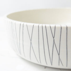 Nicola Tassie Porcelain Bowl with black etched lines