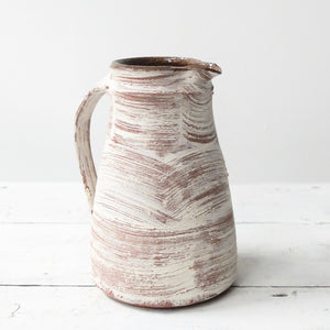 Nicola Tassie Red Stoneware jug with brushed white slip exterior (a)