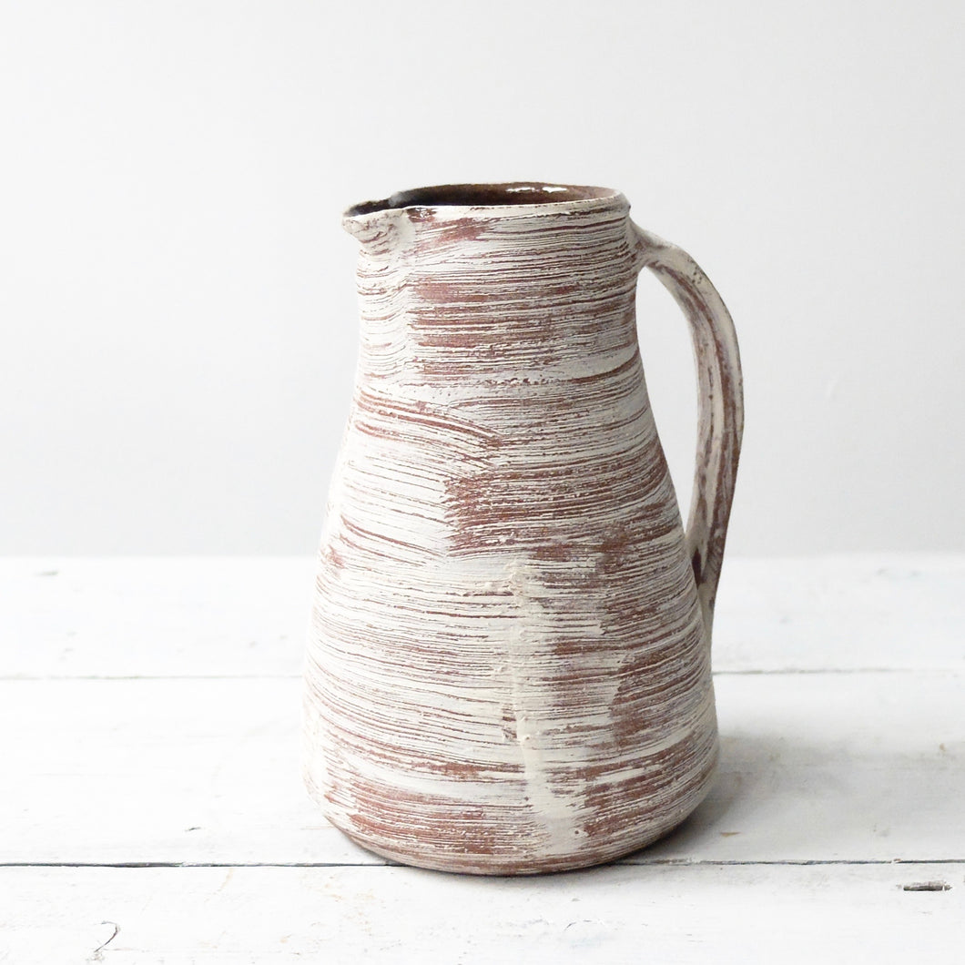 Nicola Tassie Red Stoneware jug with brushed white slip exterior (b)