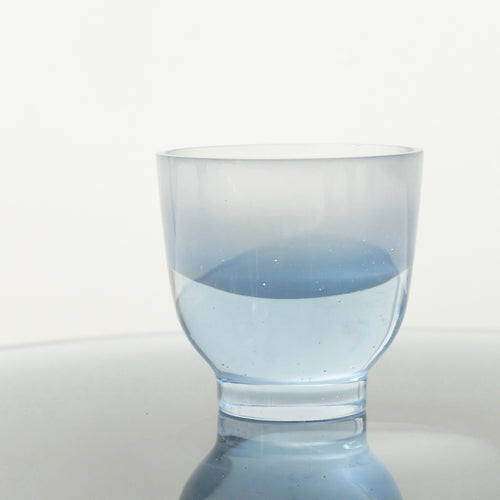 Celia Dowson Rhossili Glass beaker in polished pale steel blue
