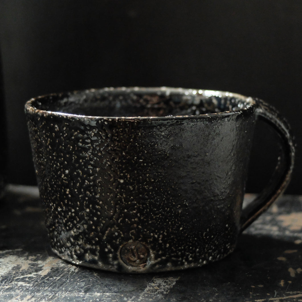 Jack Doherty Soda Fired Stoneware Shallow Mug (DARK INTERIOR)