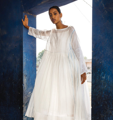 (SS21) Injiri hand woven and embroidered muslin dress blue