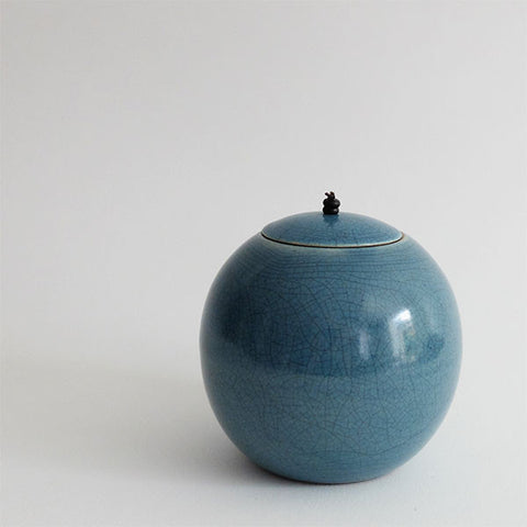 Kate Schuricht Raku Sphere lidded pot