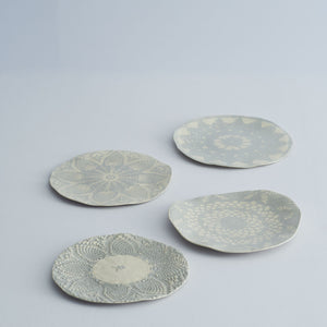 Hand made ceramic lace plates