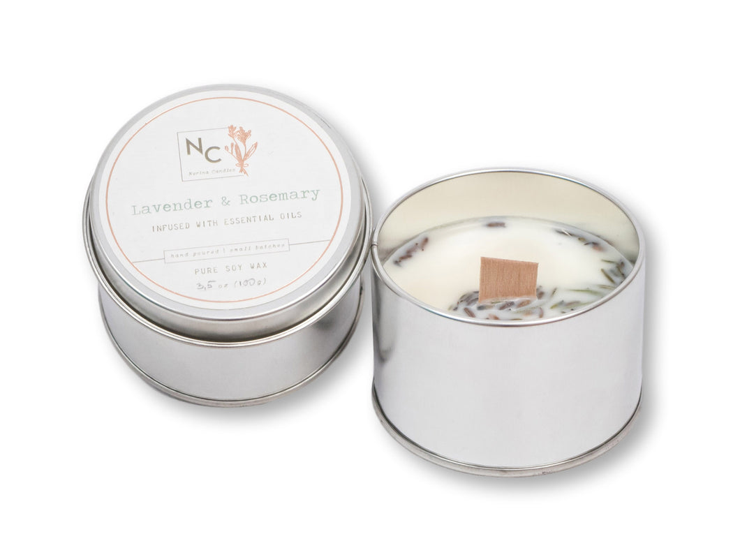 Lavender & Rosemary Scented Tin Candle | 3.5oz (100g)