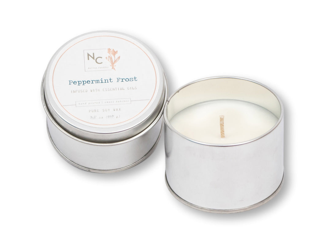 Peppermint Frost Scented Tin Candle | 3.5oz (100g)