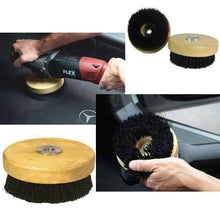 "Load image into Gallery viewer, Rotary Polisher Carpet and Upholstery Shampoo Brush 5"" Wood Block"