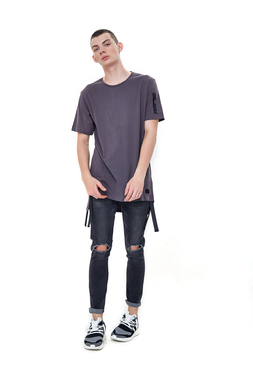 TAB DARK GREY LONGLINE T-SHIRT