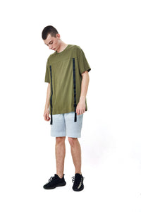 TAPE OLIVE OVERSIZED T-SHIRT
