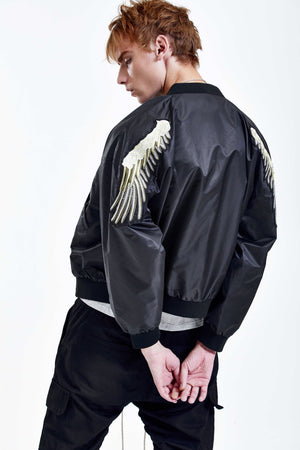 WINGS BLACK BOMBER JACKET