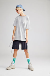 ZICCA OVERSIZED DARK GREY T-SHIRT