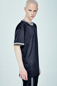 RIB LONG BOX CUT BLACK T-SHIRT