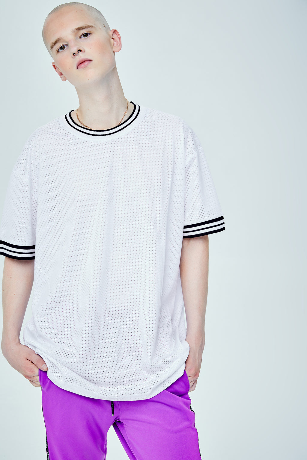 RIB LONG BOX CUT WHITE T-SHIRT