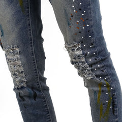 SPLATTER BLUE JEANS