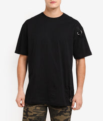 LOOPED BLACK OVERSIZED T-SHIRT