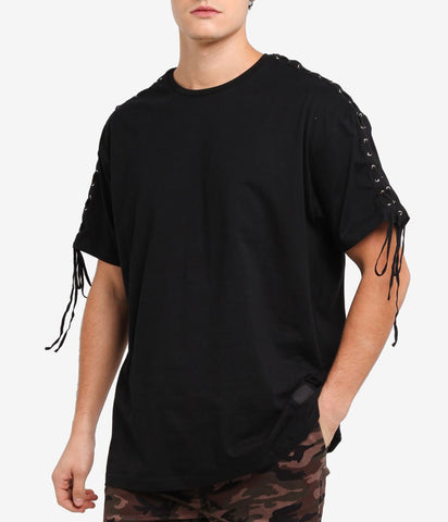 LACED BLACK OVERSIZED T-SHIRT