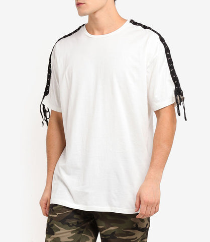 LACED WHITE OVERSIZED T-SHIRT