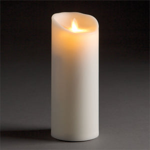 "Outdoor Luminara Lightli battery operated moving flame LED candle Classic LED Pillar Candle 3.5""x9"" Ivory"