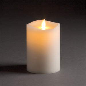 "Luminara Lightli battery operated moving flame LED candle Classic LED Pillar Candle 3.5""x5"" Ivory"